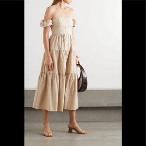 STAUD Elio Off-the-shoulder Linen-blend Midi Dress
